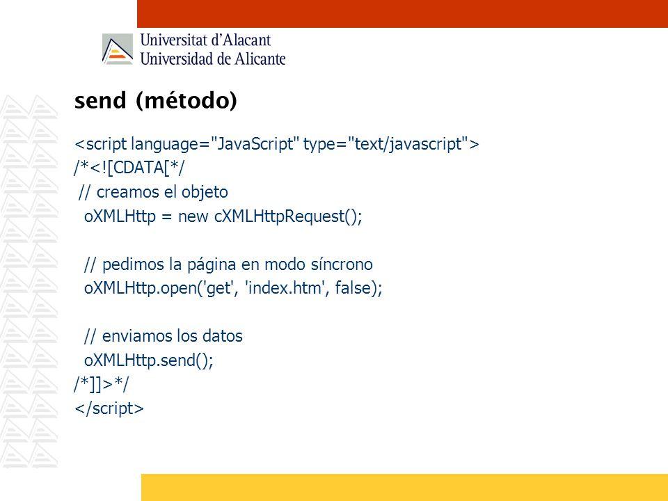 send (método) <script language= JavaScript type= text/javascript > /*<![CDATA[*/ // creamos el objeto.